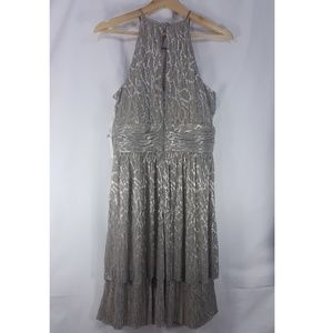 Maggy London Dresses - NWT Maggy London Taupe & Silver Halter Layer Dress